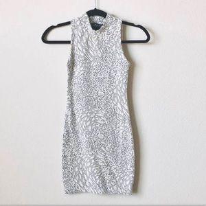 TOPSHOP PETITE Animal Print Jacquard Bodycon Dress